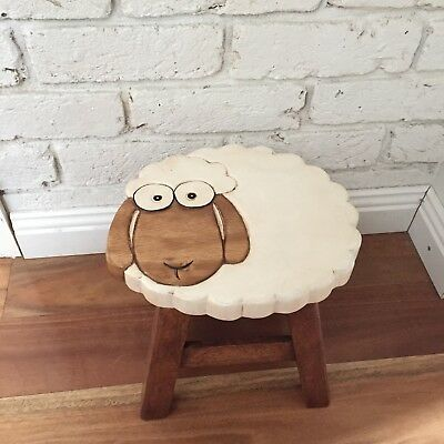 Mango Trees Solid Timber Hand Carved Kids Wooden Stool Sheep with longear!