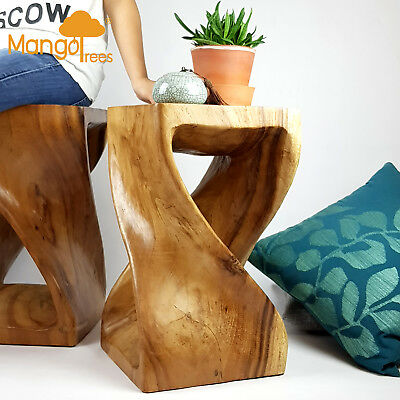 Twisted Natural Monkey Pod Wood Stump Stool Solid Wood Side Table for Home Decor
