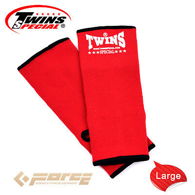 TWINS Special Pro Muay Thai Kick Boxing MMA UFC ANKLE GUARD RED L!