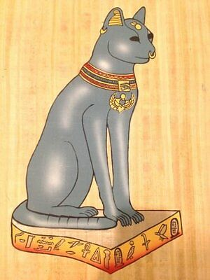 Huge Ancient Egyptian Mythical Cat Bastet Magic Handmade Painting on Papyrus .
