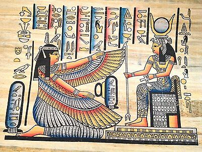 Ancient Egyptian Winged Goddess Isis for protection Papyrus Painting Egypt .