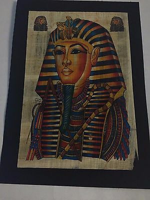 King Tut Signed Egyptian Handmade Papyrus Art Painting on Ancient Plant Egypt.