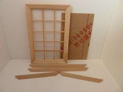 Dolls House Miniature 1.12th Scale Building Accessory 15 Pane Wooden Window