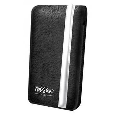 Genuine Mossimo Deluxe Leather Pouch for iPhone 5/5S/SE- Black & White