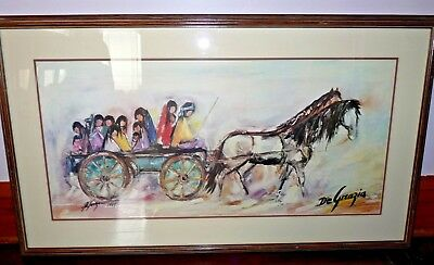 "Ettore Ted DeGrazia 1981 Signed Large and Framed Print NAVAJO WAGON 39"" x 23"""
