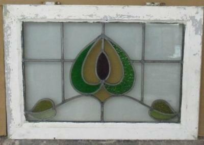 "MID SIZED OLD ENGLISH LEADED STAINED GLASS WINDOW Fantastic Floral 26.5"" x 19"""