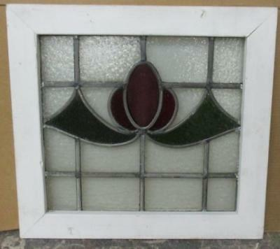 "OLD ENGLISH LEADED STAINED GLASS WINDOW Nice Floral Abstract 22.5"" x 21"""