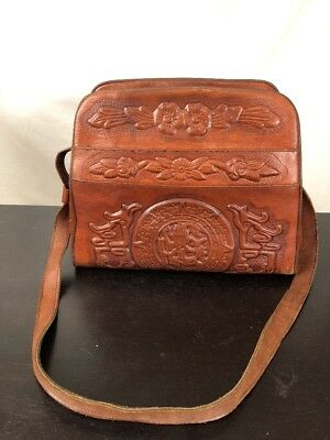 Vintage 1950's ASTRO Hand Tooled Embossed Leather/Suede Purse Mexico Aztec Roses