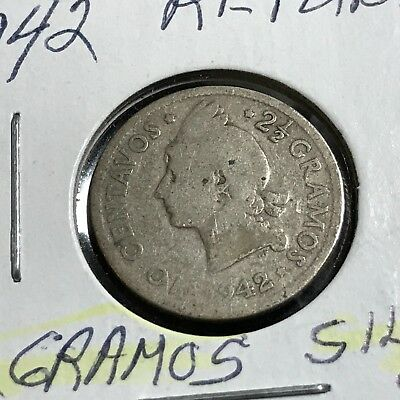 1942 Dominican Republic Silver 10 Centavos Better Coin