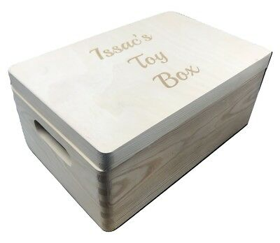Personalised Engraved Wooden Box with Handles Plain or Painted Storage Boxes