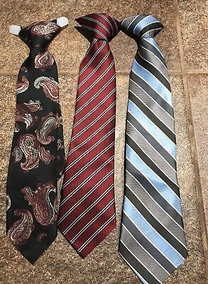 """Lot of 3 Boys Clip-On Ties 11""""-12"""" Length Great Condition!"""