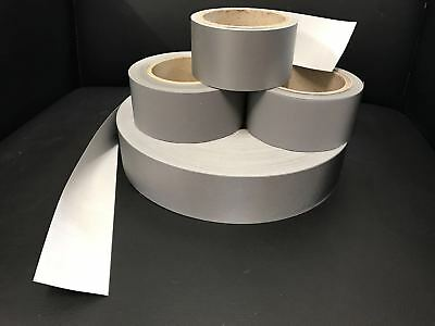 Silver cotton Reflective tape SEW ON T/C Backing 50mm X 5m