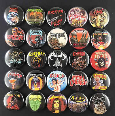 "Large Thrash Metal 1"" PIN BUTTON set Razor Hirax Exciter Overkill Kreator Sodom"