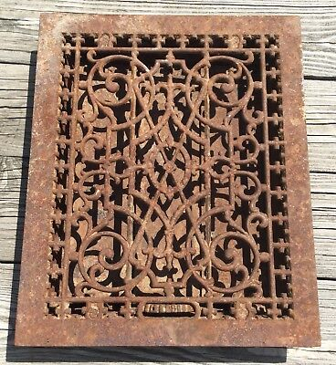 OLD VTG ANTIQUE CAST IRON FLOOR GRATE GOTHIC HEATING VENT METAL REGISTER 12x15