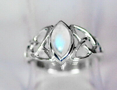 523 Rainbow Moonstone Celtic ring Solid 925 Sterling Silver sz N/Q/T rrp$44.95