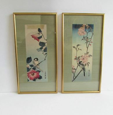 Pair (2) Antique Japanese Floral & Bird Woodblock Prints Artist Signed