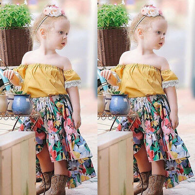 AU Toddler Kids Baby Girl Summer Outfits Lace Off Shoulder+Floral Skirt Clothes