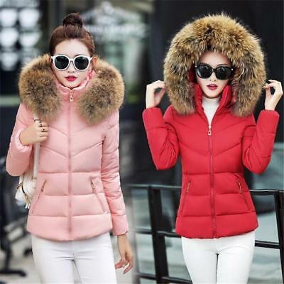 Winter Women's Down Cotton Parka Short Fur Collar Hooded Coat Quilted Jacket B