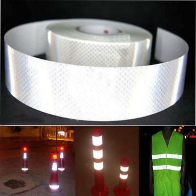Silver White Reflective Safety Warning Conspicuity Tape Film Sticker 8  2''X10'M