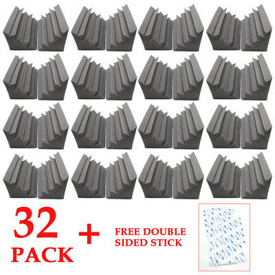 32Pcs Acoustic Foam Wedge Sheets Corner Bass Trap Sound Insulation Sponge Black