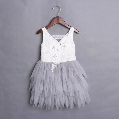 AU Kids Baby Girl Tulle Tutu Lace Sleeveless Dress Princess Party Cocktail Dress