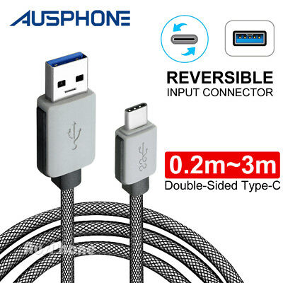 3A Braided Type-C USB-C Fast Charger Cable Cord 1M 3M Long For Samsung S9 Note 9