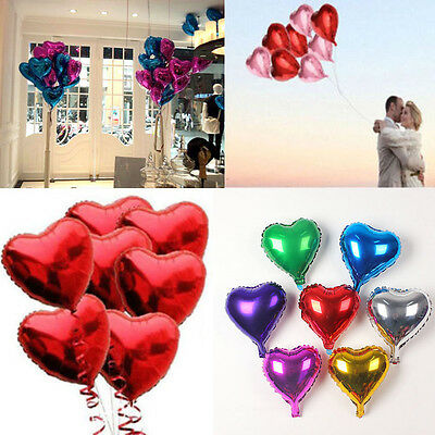"5pcs 10"" Love Heart Foil Helium Balloons Wedding Party Birthday Decoration NEW"