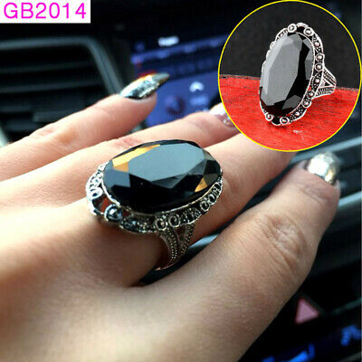 2018 New Vintage Big Black Oval Stone Rings Antique Silver Color Women Jewelry