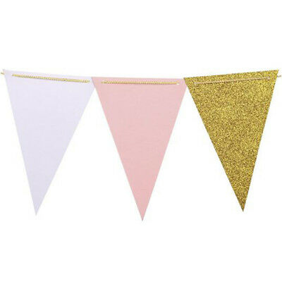 Triangle Banners Flag Hanging Bunting Garlands Burlap Flash Gold + White + Pink
