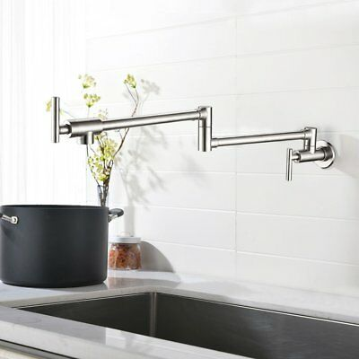 Double Handle Wall Mounted Pot Filler Kitchen Faucet Brushed Nickel