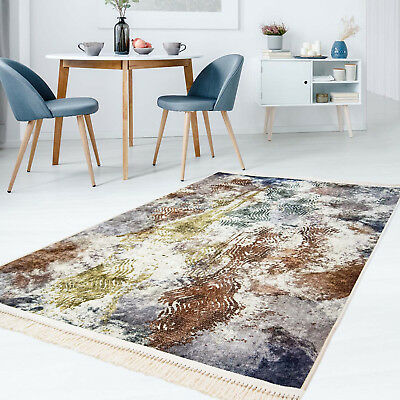 Carpet Flat Pile Polyester Washable Modern with Abstract Pattern Multicoloured