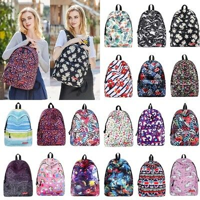 Womens Girls Canvas Shoulder School Bag Backpack Travel Satchel Rucksack Handbag