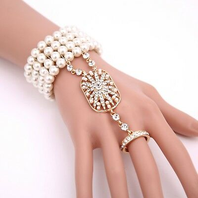 1920s Great Gatsby Pear Hand Chain Bracelet Ring Flapper Accessories Ring Set