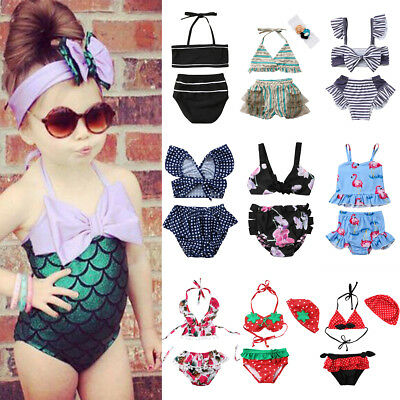 2PCS Kids Baby Girl Tankini Bikini Set Swimwear Swimsuit Bathing Suit Beachwear