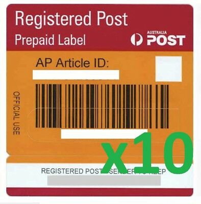 10x Australia Post Registered Post Prepaid Labels with Tracking Signature