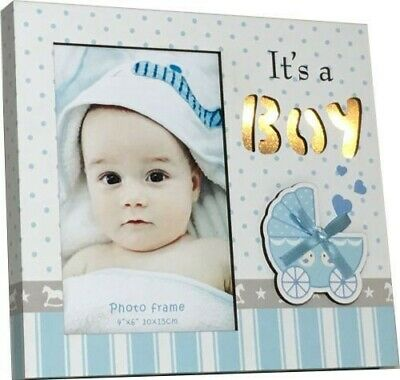 White/Blue Baby Boy LED Night Light Up Photo Frame- Nursery Decor Newborn Gift