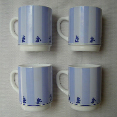 4 Tasses Mugs Arcopal France Disney Mickey Vintage French Cups Collection