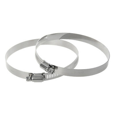 """2 Pcs 91-114mm Adjustable Range Stainless Steel Band Worm Gear Hose Clamp 4.5""""X9"""