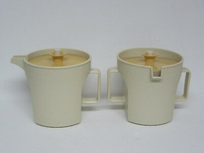 Vintage Tupperware Cream & Sugar Set Almond & Gold Push Seal Lids 1415-2 &1414-3