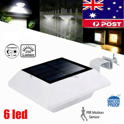 6 LED Solar Power Gutter Light Outdoor Garden Wall Path Yard Fence Pathway Lamp