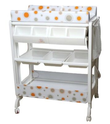 Baby Change And Bath Table w Thick Pad/Safety Straps/Storage/Lockable Wheels
