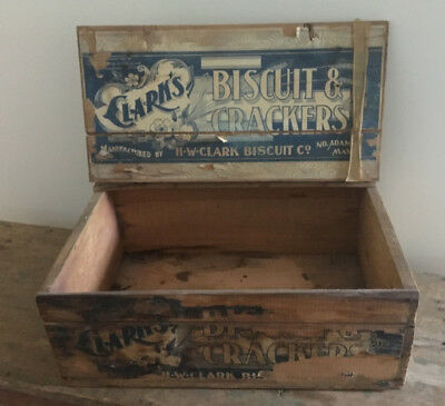 Antique Wood Wooden Clark's Biscuit Box Paper Label Advertising Burlington VT MA