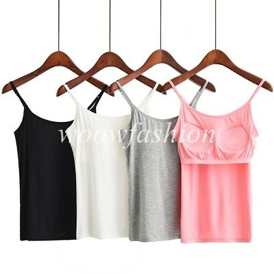 Women's Stretch Cami with Built-in Shelf Bra Adjustable Spaghetti Strap Tank Top