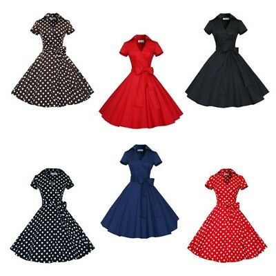 50s 60s Retro Hepburn Style Costume VNeck Swing Rockabilly Housewife Pinup Dress
