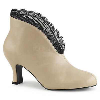 Eve-102 Pleaser High Heels Peep Toe Stiefelette schwarz creme Lederlook Gr 39-47