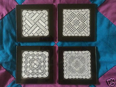Set of 4 Torchon Lace Glass Coaster Kits - Original Design by Harlequin Lace