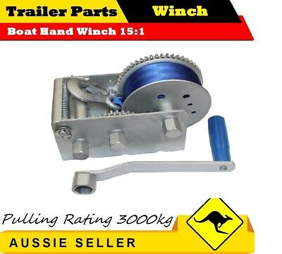 JSS 3000KG 3 SPEED Boat Hand Winch 15:1 CAR BOAT TRAILER 4WD HAND WINCH