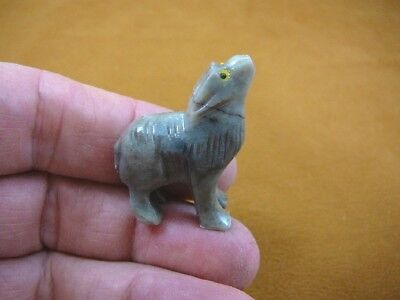 (Y-COY-55) gray tan COYOTE wolf wild dog carving SOAPSTONE stone PERU FIGURINE