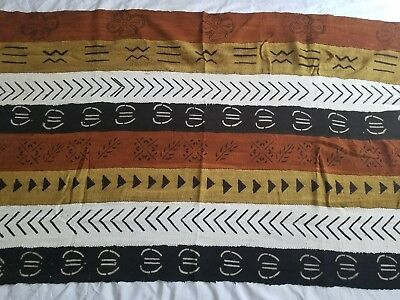 """Authentic African Handwoven Bambara Mud Cloth Fabric From Mali Size 62"""" x 39.5"""""""