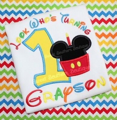 Mickey Minnie Mouse Birthday Shirt Happy Party 1st First 2nd 1 2 3 Boy Girl Cake